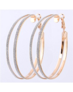 Dull Polish Surface Giant Hoop High Fashion Women Earrings - Golden