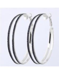 Black Dull Polish Surface Giant Hoop High Fashion Women Earrings Earrings - Silver