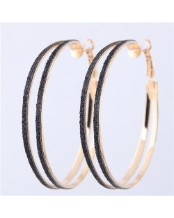 Black Dull Polish Surface Giant Hoop High Fashion Women Earrings Earrings - Golden