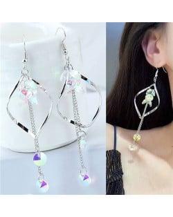 Dangling Beads Tassel Graceful Waterdrop Design Women Fashion Earrings - Silver