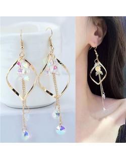 Dangling Beads Tassel Graceful Waterdrop Design Women Fashion Earrings - Golden