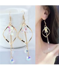 Dangling Beads Tassel Graceful Waterdrop Design Women Fashion Earrings - Golden