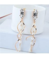 Dangling Pearl Spiral Pattern Design Women Fashion Costume Earrings