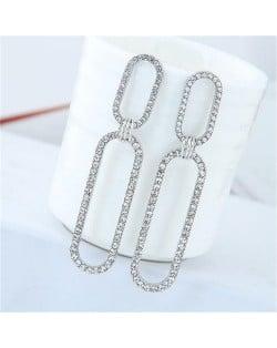Rhinestone Shining Linked Hoops Women Fashion Earrings - Silver
