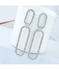 Rhinestone Shining Linked Hoops Women Fashion Earrings - Silver