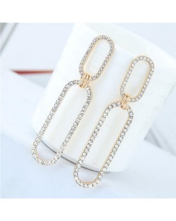 Rhinestone Shining Linked Hoops Women Fashion Earrings - Golden