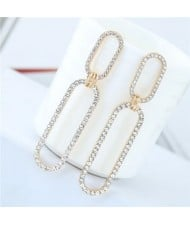 Rhinestone Shining Linked Hoops Women Fashion Earrings - Golden