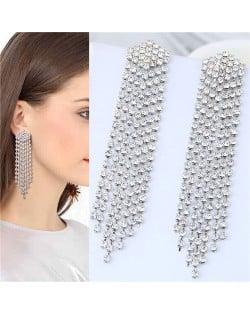 Rhinestone Shining Tassel Elegant Women Fashion Statement Earrings - Silver