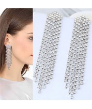 Rhinestone Shining Tassel Elegant Women Fashion Statement Earrings - Silver