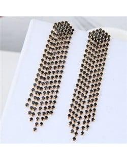 Rhinestone Shining Tassel Elegant Women Fashion Statement Earrings - Golden Black