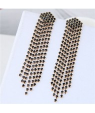 Rhinestone Shining Tassel Elegant Women Fashion Statement Earrings - Golden Black