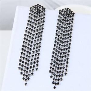 Rhinestone Shining Tassel Elegant Women Fashion Statement Earrings - Silver Black
