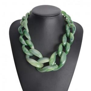 Attractive Bold Chain Design High Fashion Women Costume Necklace - Green