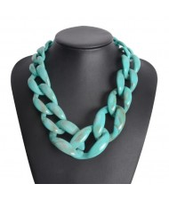 Attractive Bold Chain Design High Fashion Women Costume Necklace - Teal