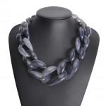 Attractive Bold Chain Design High Fashion Women Costume Necklace - Gray