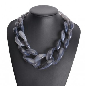 Attractive Bold Chain Design High Fashion Women Costume Necklace - Gray