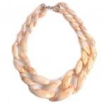 Attractive Bold Chain Design High Fashion Women Costume Necklace - Yellowish White