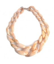 Attractive Bold Chain Design High Fashion Women Costume Necklace - Yellowish White