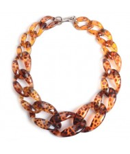 Attractive Bold Chain Design High Fashion Women Costume Necklace - Brown