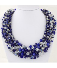 Shining Crystal Beads Hand Weaving Chunky Collar Fashion Women Statement Necklace - Blue