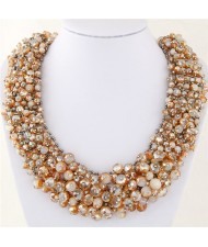 Shining Crystal Beads Hand Weaving Chunky Collar Fashion Women Statement Necklace - Champagle