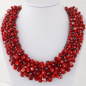 Shining Crystal Beads Hand Weaving Chunky Collar Fashion Women Statement Necklace - Red
