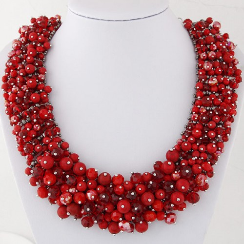 Shining Crystal Beads Hand Weaving Chunky Collar Fashion