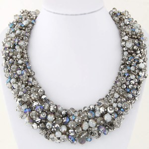 Shining Crystal Beads Hand Weaving Chunky Collar Fashion Women Statement Necklace - Silver