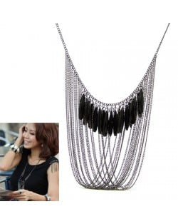 Black Beads Decorated Chains Tassel Desigh High Fashion Costume Necklace