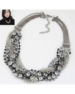 Rhinestone Embellished Alloy Chain Tassel Short Women Fashion Statement Necklace