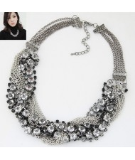 Rhinestone Embellished Alloy Chain Tassel Short Women Fashion Statement Necklace