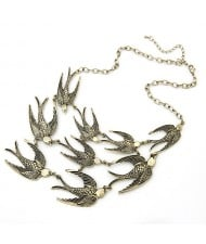 Vintage Swallows Short Fashion Costume Necklace