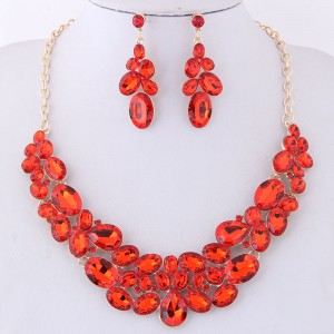 Resin Gems Spring Flowers Design Women Statement Fashion Necklace and Earrings Set - Red