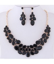 Resin Gems Spring Flowers Design Women Statement Fashion Necklace and Earrings Set - Black