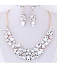 Resin Gems Spring Flowers Design Women Statement Fashion Necklace and Earrings Set - White