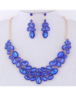 Resin Gems Spring Flowers Design Women Statement Fashion Necklace and Earrings Set - Blue