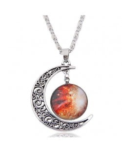 Hollow Moon and Sun High Fashion Costume Necklace - Pattern 1