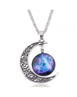 Hollow Moon and Sun High Fashion Costume Necklace - Pattern 2
