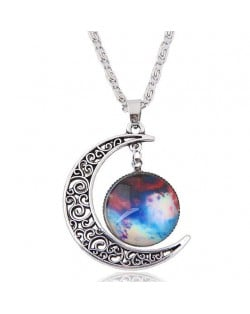 Hollow Moon and Sun High Fashion Costume Necklace - Pattern 3