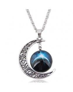 Hollow Moon and Sun High Fashion Costume Necklace - Pattern 5