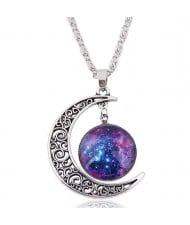 Hollow Moon and Sun High Fashion Costume Necklace - Pattern 6