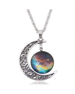 Hollow Moon and Sun High Fashion Costume Necklace - Pattern 7