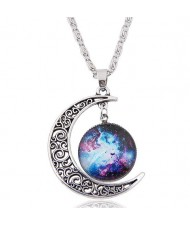 Hollow Moon and Sun High Fashion Costume Necklace - Pattern 9