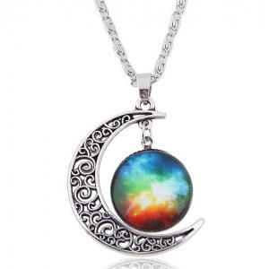 Hollow Moon and Sun High Fashion Costume Necklace - Pattern 10