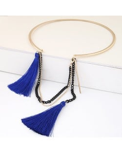 Cotton Threads and Alloy Chain Tassel High Fashion Women Necklet - Blue