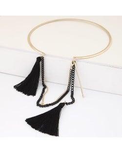 Cotton Threads and Alloy Chain Tassel High Fashion Women Necklet - Black