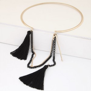 Cotton Threads and Alloy Chain Tassel High Fashion Women Necklet - Black