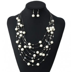 Pearl and Beads Embellished Multi-layer Women Fashion Costume Necklace