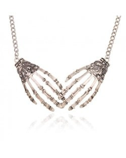 Skeleton Hands Punk Fashion Alloy Costume Necklace