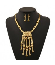 Vintage Style Skeleton Hands Punk Fashion Golden Necklace and Earrings Set
